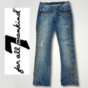 7 For All Mankind Rhinestone Bootcut Blue Jeans 26